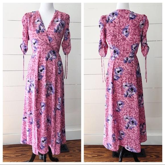 Wayf Dresses & Skirts - WAYF Pink Floral Romantic Midi Wrap Front Dress